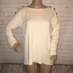 J. Crew boat neck sweater shoulder buttons Small
